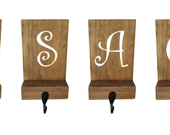 Stocking holders, reclaimed wood, initial, mantle decor, mantle stockings, rustic Christmas, family stockings, personalized hooks, decor
