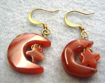 Moon and Stars Earrings, Carnelian Stone Bead Moon and Star Dangle Earrings, Astrological Earrings, Beaded Handmade Hippie Earrings