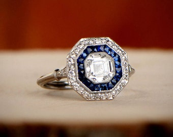 1.09ct Asscher Cut Diamond Engagement Ring - Sapphire and Diamond Halo - Platinum Ring
