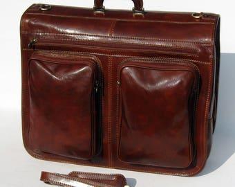 Italian Leather Weekender Garment Carrier by Enzo Olletti