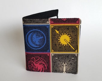Wallet made from licensed Game of Thrones material, Mens wallet, boys wallet, cloth wallet, Bi-fold wallet, fabric wallet, House Sigils