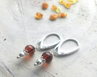 Natural cognac amber gemstone earrings - Silver earrings with amber - Natural gemstone jewelry - Natural amber stone