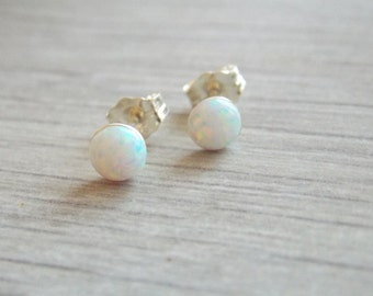 Opal stud earrings, silver opal earrings, opal earrings, classic earrings, stud earrings, sterling silver earrings