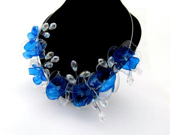 Choker drop necklace Choker with crystal  Blue and crystal choker necklace Crystal choker necklace wedding Choker and drop necklace