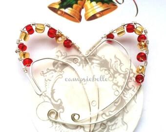 Girls Elf Ear Jackets- Red Gold Beads- Silver Wire-Dainty Elf Ears- Elvin Jewellery-Cosplay Elf Ears-Larp Ears-Created by Campsiebella