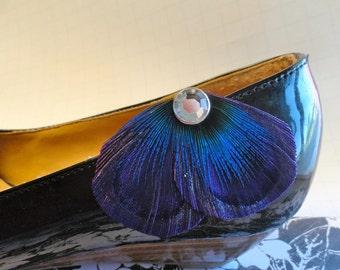 Petite Shoe Clip Collection - Purple Peacock Shoe Clips