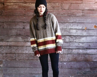 vintage oversized striped boyfriend sweater - cable knit pullover - unisex - earth tones - mens 80s sweater