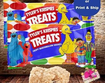 Custom treats wrapper, Sesame Street Rice Krispies Wrapper, Baby shower, birthday party, Sesame Street favor-DIGITAL FILE ONLY