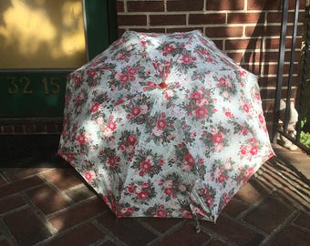1940's Vinyl Parasol Red Pink White Floral FLowers Red Handle Unused New Old Stock