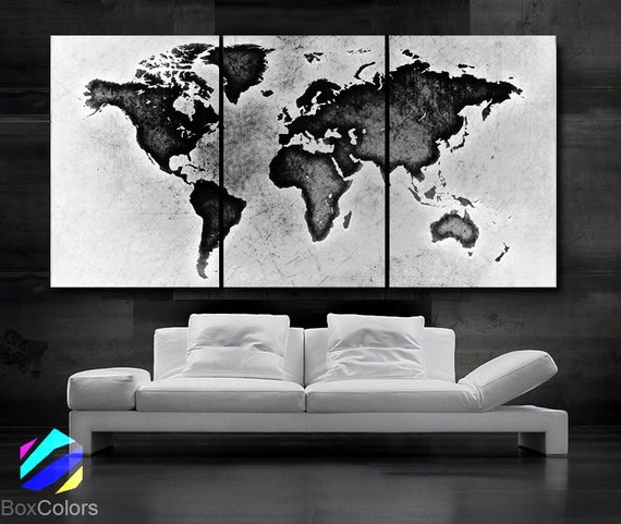Large 30x 60 3 panels art canvas print world map large 30x 60 3 panels art canvas print world map black white wall home office decor interior included framed 15 depth gumiabroncs Choice Image