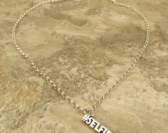 Sterling Silver #Selfie Pendant  Sterling Silver 3mm Rolo Necklace - 1232