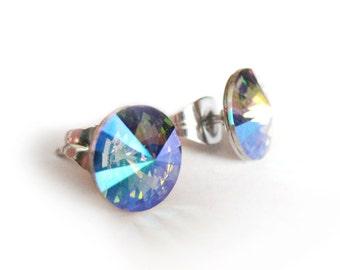 Rivoli Earrings, 8mm Crystal Stud Earrings, Paradise Shine Crystal Post Earrings, Swarovski cristal stud Earrings, Stainless Steel Post