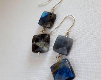 Blue flash Labradorite drop earrings, faceted labradorite earrings, made in Australia