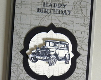 Vintage Car, Mans Birthday Card, Guy Card, Handmade, Old Car, Autos, Card for Man, Classic Car, Unique, Automobiles, Old Fashioned