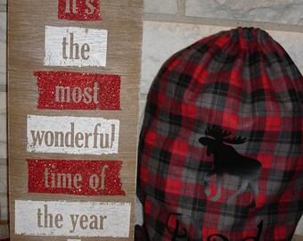 Personalized FLANNEL Gift Sack - Santa Sack Gift Bag