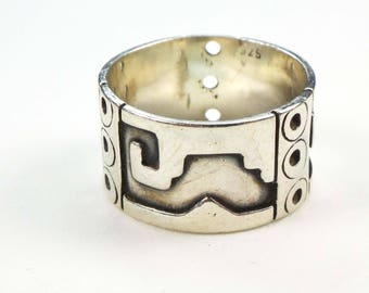 Vintage Sterling Ring Silver Ring Sterling Silver Band Handmade Sterling Band Wide Silver Band Wedding Band Wedding Ring