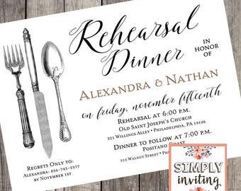 Rehearsal Dinner Invitation | Vintage Rehearsal Dinner Invitation | Wedding Dinner Invitation | Invitation for Rehearsal Dinner | PRINTED
