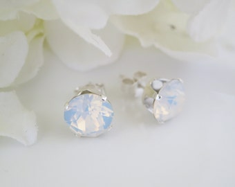White Opal rhinestone studs, Swarovski 8mm round post earrings, Simple wedding jewelry, Sterling silver bridal earrings, Bridesmaids gift