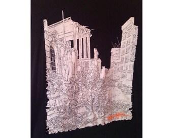Diesel Men's black long sleeved blouse/55 DSL black men's top with white graffiti print/Winter Printed blouse/Graffiti Print