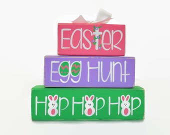 Church easter gifts etsy easter egg hunt hop hop hop woodenblock shelf sitter stack easter basket office desk decoration negle