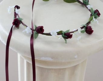 Vineyard Wedding Accessories burgundy flower girl halo Bridal floral Crown headpiece marsala Hair Wreath child photo prop baby headband