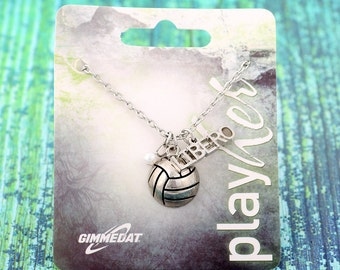 Customizable Silvertoned Libero Volleyball Necklace - Personalize with Jersey Number, Heart Charm, or Letter Charm! Great Volleyball Gift!