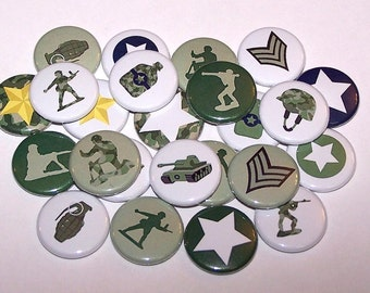 """Military Soldiers Set of 10 Buttons 1"""" or 1.5"""" Pin Back Buttons or 1"""" Magnets army Men"""