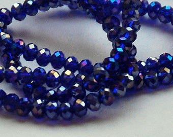 25 pcs 4.5x3mm Transparent Dark Blue Sapphire Cobalt Blue AB Rondelle Glass Beads DB/AB-2