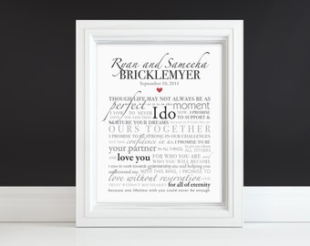 Wedding Vow Art or Song Lyrics Keepsake - Custom Print - Gift for Valentine's Day, Paper Anniversary, Newlywed, Husband, Wife, Mothers Day
