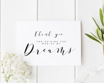Parents In Law Wedding Day Card, Thank You For Raising The Man Of My Dreams, Woman Of My Dreams Wedding Day Card, Parents-In-Law Card