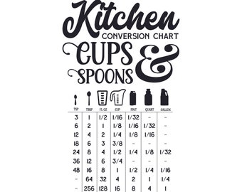 Kitchen Conversion Chart Cups and Spoons SVG, Kitchen SVG, Cooking SVG, Cricut cut files, Kitchen decor, Measuring svg