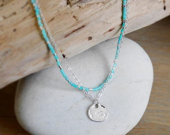 Very dainty necklace in turquoise and silver Miyuki seed beads and silver chain with small Pendant (COCH02turquoise)