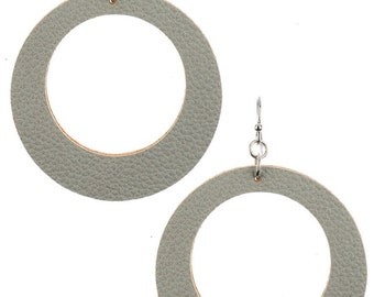 Leather Look Cutout Round Earrings - Silver/Gray