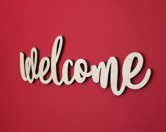 Welcome, Wood, Sign, Cursive, Script, Wall Decor, Home Decor, Laser, Cut Out, Unfinished, Front Entry, Greeting