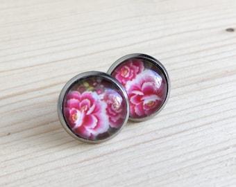 Clous d'oreilles rose, Boucles d'oreilles fleurs rose, Boucles d'oreilles pour fille, Acier inoxydable, Boucles d'oreilles pour femmes