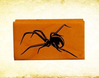 Black Widow Spider Rubber Stamp Mounted Wood Block Art Stamp