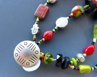 Double Row Bracelet in Black Red And Lime