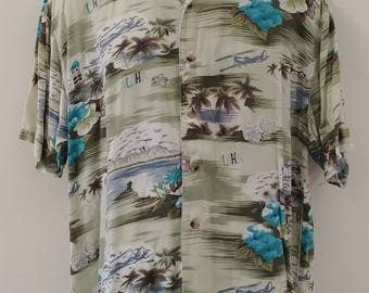 "1990's Vintage Mens Greens, Olive, White and Turquoise Rayon Hawaiian Tropical Tiki Aloha Shirt 100% Rayon  ""Thums-Up for Him"" size X large"