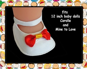 Vintage White Rubber Shoes with Red Bows for 12 inch baby doll, Mine to Love 12, Corolle Calin 12 inch