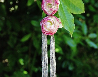 Two flower hairclips, pink buttercup, fairy hairstyle, tribal fusion, golden hair, bohemian, flowery accessory