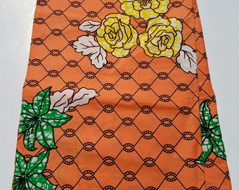 Peach Vilisco African Fabric; Ankara Fabric; African Clothing; African Fabric in yard; African Headwrap;Ankara Fabric in yards;Yellow fabric