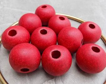 Rustic Red Terra Cotta Beads ~ Greek Mykonos ~ 24mm Rounds