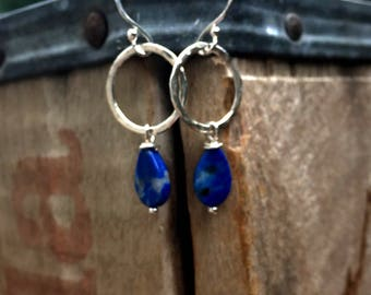Hammered Silver Hoops with Lapis Lazuli Dangle Earrings