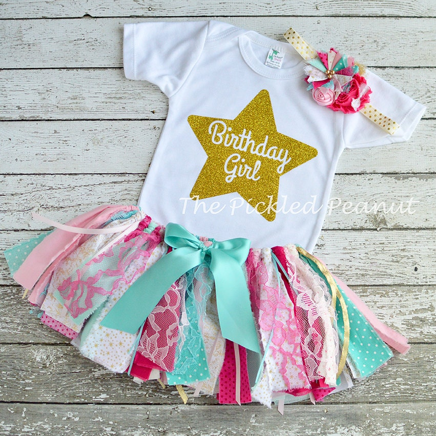 Pink Teal Gold 1st Birthday Outfit Baby Tutu Baby Outfit