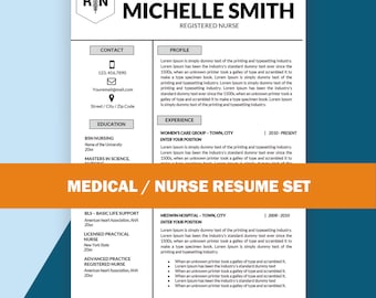 Nurse Resume Template, Resume Template Nurse / Medical Resume, Nursing  Resume Template, Cover