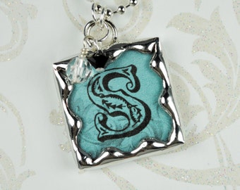 French Blue Personalized Initial Necklace Soldered Pendant
