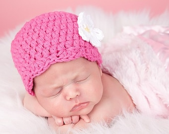 Newborn Girl Hat Newborn Baby Girl Hat Newborn Hat Hot Pink Baby Hat Baby Girl Clothes Hospital Hat Crochet Flower Hat Flapper Beanie