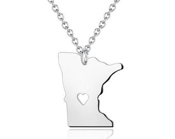 Minnesota Necklace - Minnesota Pendant - 18k gold plated State Necklace - State Charm - Map necklace
