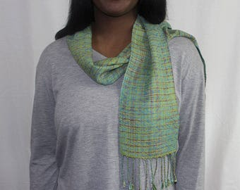 Handwoven Scarf Green Silk and Bamboo