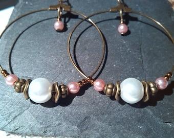 Bronze and Pearl hoop earrings